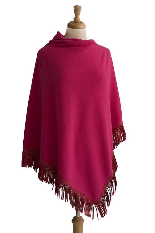 Pink Cashmere/Merino Poncho - Pink Leather Fringe