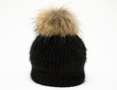 Natural Raccoon - Individual Detachable Pompom