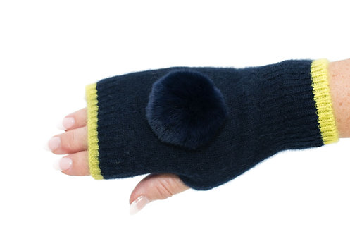 'Millie' Gloves - Navy & Yellow - Matching Colour Poms
