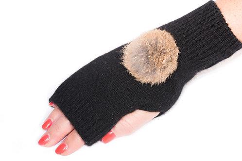 'Maddie' Gloves - Black - Natural Colour Poms