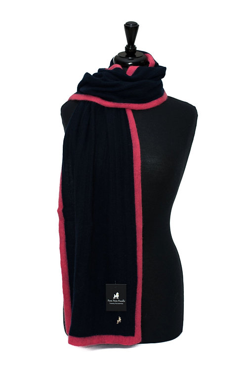 'Millie' Scarf - Navy with Pink Stripe