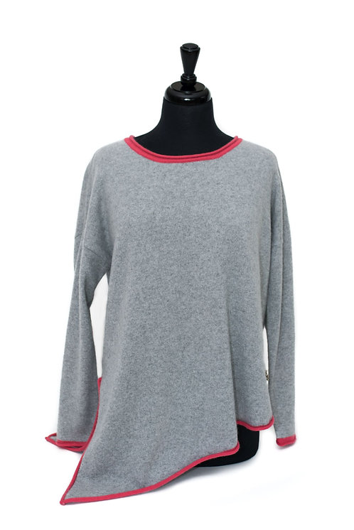 Daisy - Round Neck Jumper - Dove Grey & Pink