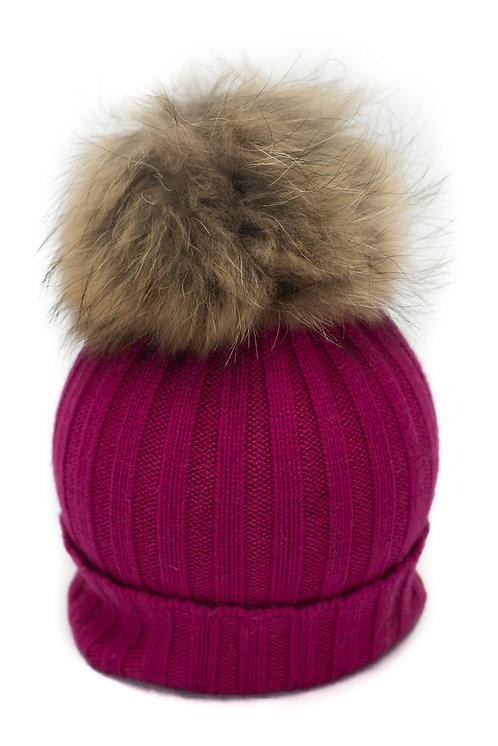 'Olivia' Hat - Fuschia Pink With Raccoon Pompom