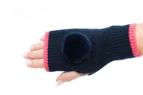 'Millie' Gloves - Navy & Pink - Matching Colour Poms