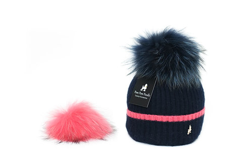 'Millie' Hat - Navy with Pink Stripe