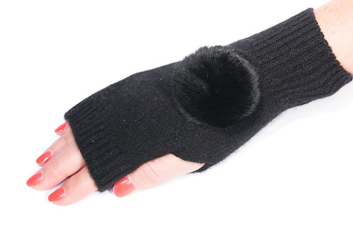 'Molly' Gloves - Black - Matching Colour Poms