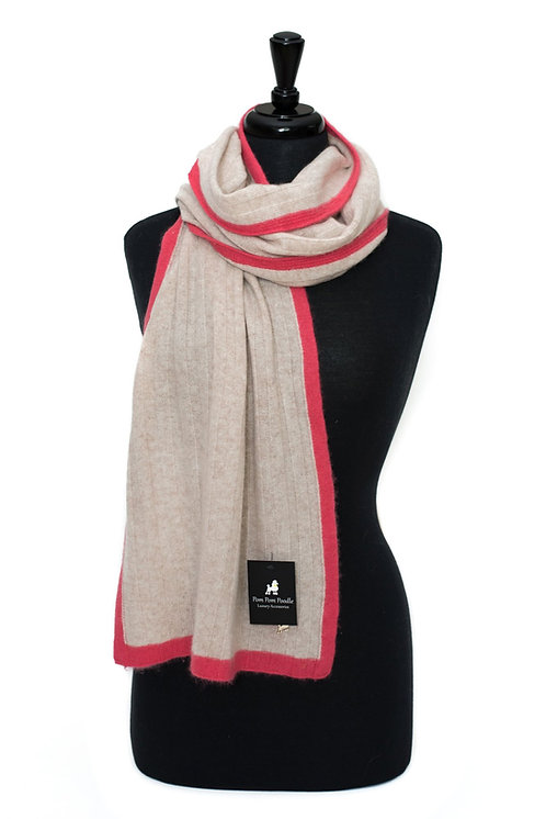 'Millie' Scarf - Beige with Pink Stripe