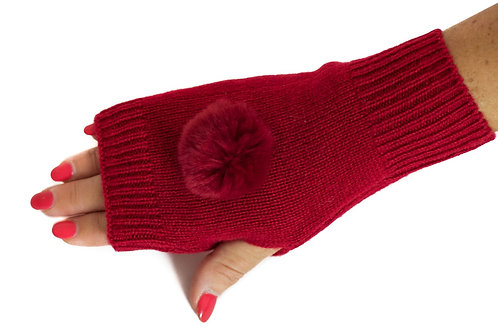 'Molly' Gloves - Red - Matching Colour Poms
