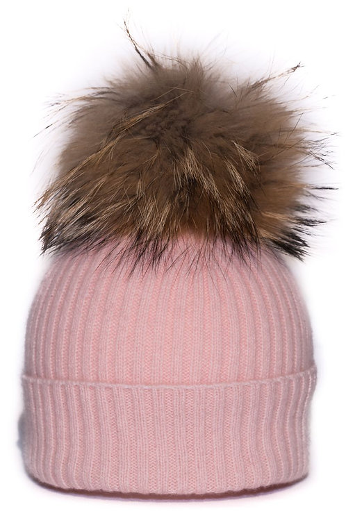 'Maddie' Hat - Light Pink - Natural Colour Pom