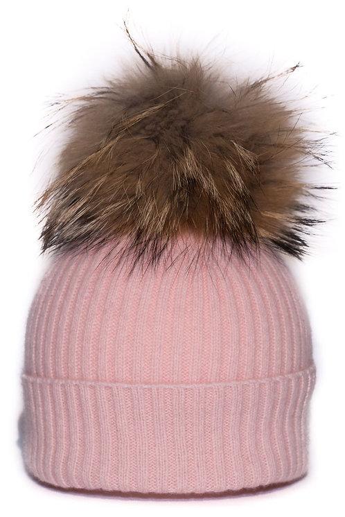 'Maddie' Hat - Light Pink - Natural Colour Pom
