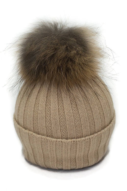 'Olivia' Hat - Beige With Raccoon Pompom