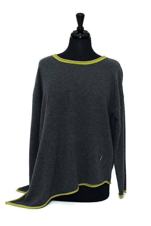 Daisy - Round Neck Jumper - Charcoal & Yellow
