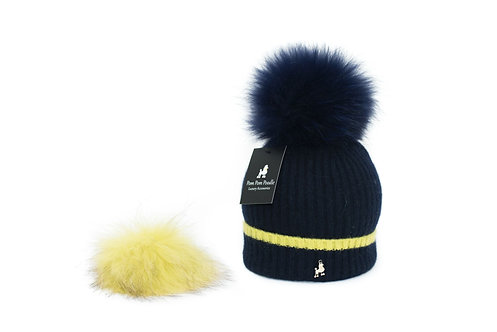 'Millie' Hat - Navy with Yellow Stripe