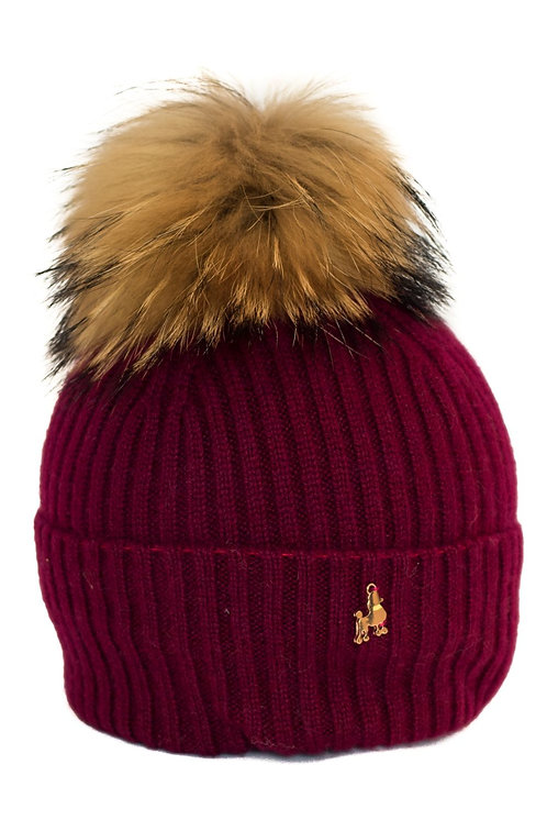 'Maddie' Hat - Burgundy - Natural Colour Pom