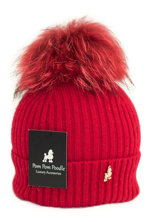 'Molly' Hat - Red with Matching Colour Pom