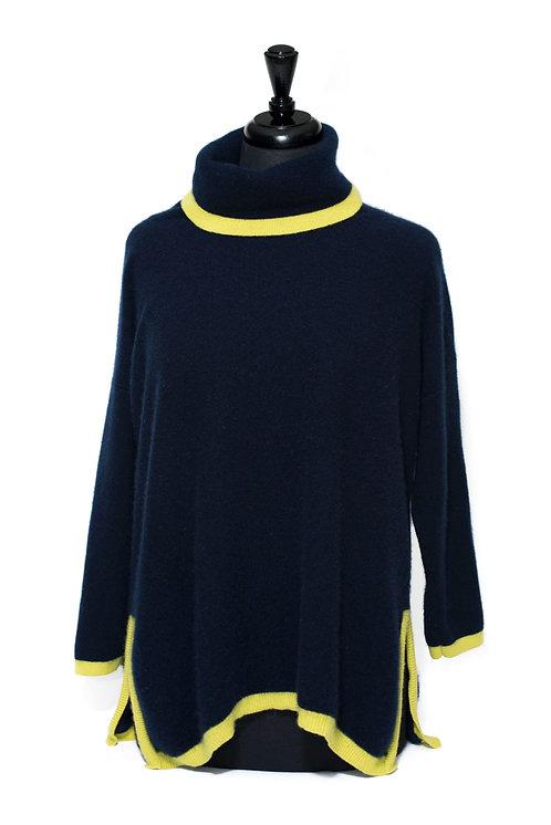 Martha - Polo Neck Jumper - Navy & Yellow