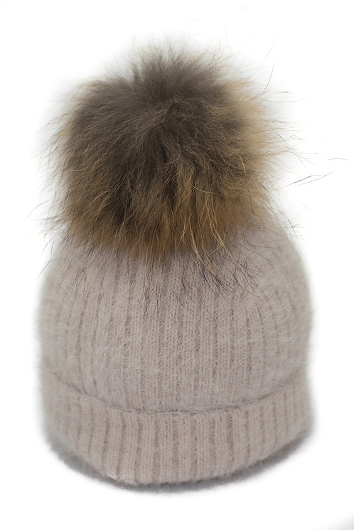 'Tamara' Hat - Beige With Raccoon Pompom