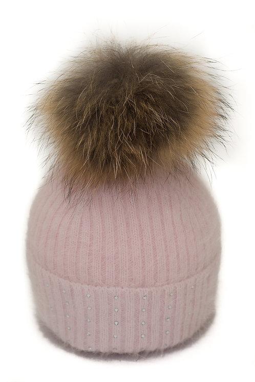'Katrina' Hat - Pink With Raccoon Pompom