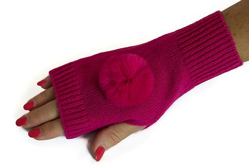 'Molly' Gloves - Fuschia - Matching Colour Poms