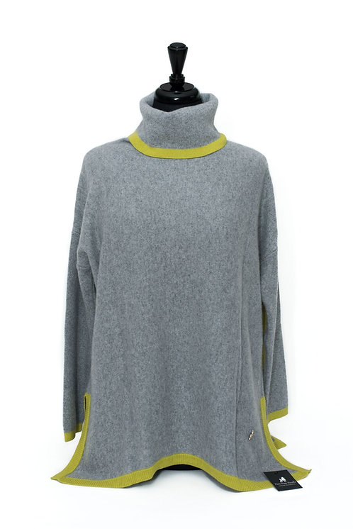 Martha - Polo Neck Jumper - Dove Grey & Yellow