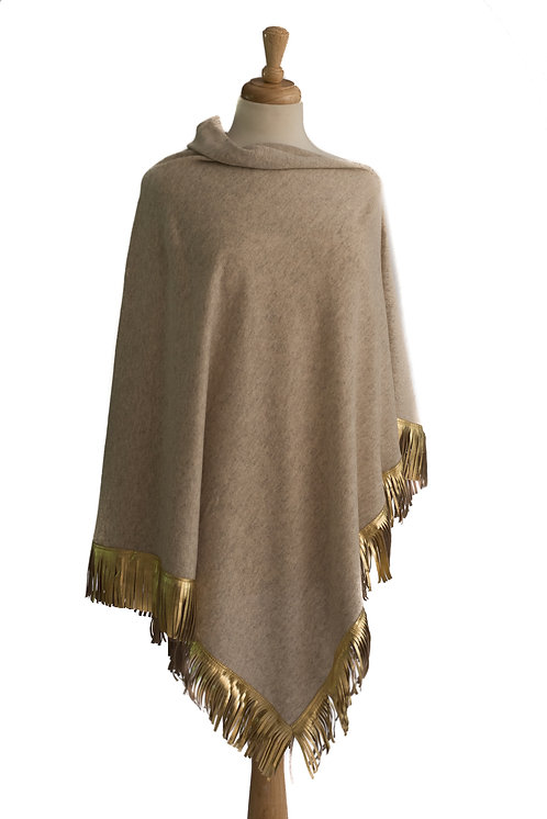 Beige Cashmere/Merino Poncho - Gold Leather Fringe