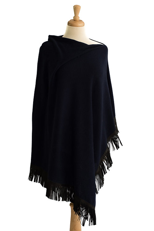 Navy Cashmere/Merino Poncho - Black Leather Fringe