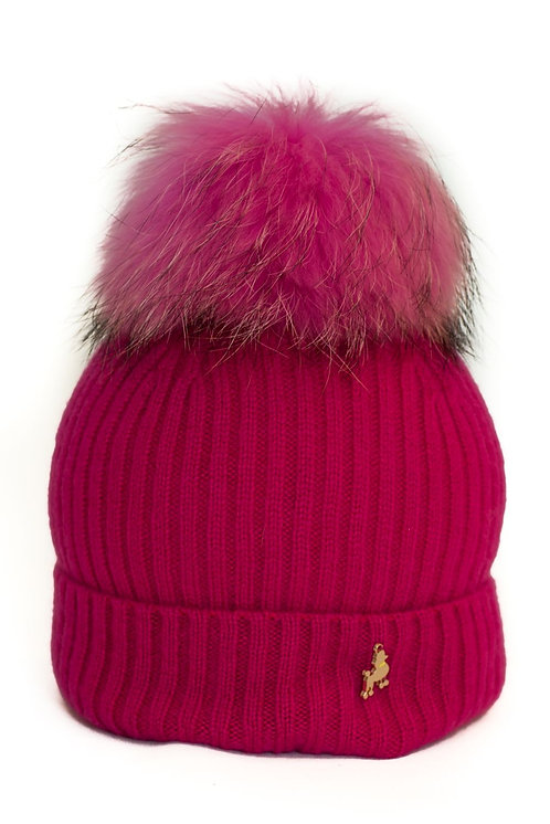 'Molly' Hat - Fushia with Matching Colour Pom