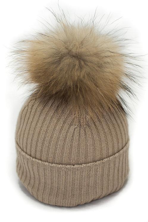'Maddie' Hat - Beige - Natural Colour Pom