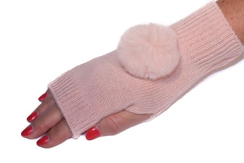 'Molly' Gloves - Light Pink - Matching Colour Poms