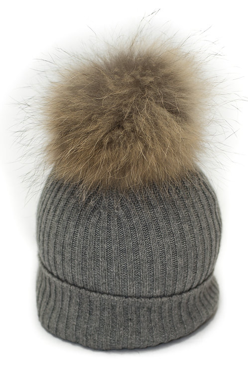 'Maddie' Hat - Light Grey - Natural Colour Pom