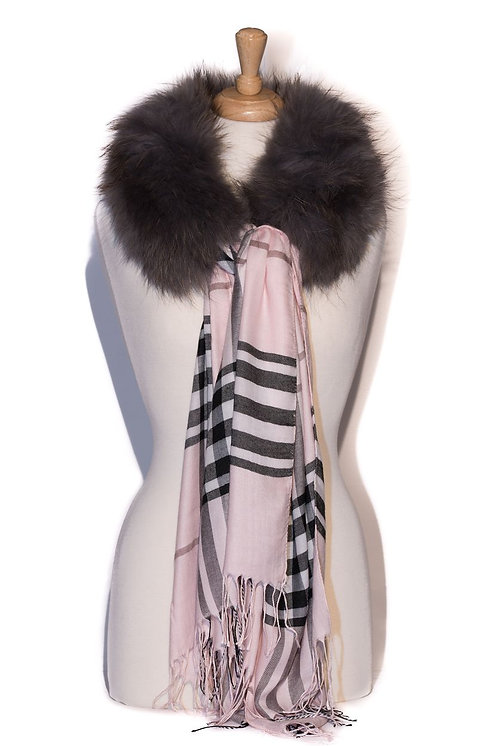 Grey with Pink Burberry - Fur Collar with Tube