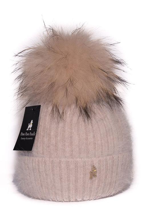 'Jenna' - Beige Pompom Hat