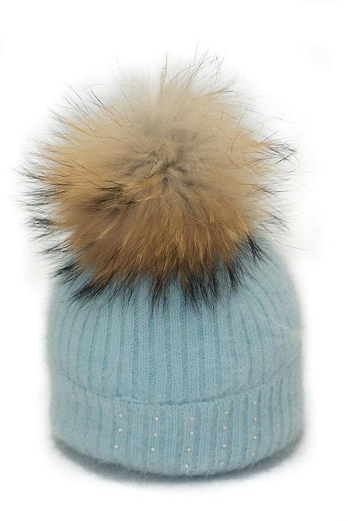 'Katrina' Hat - Light Blue With Raccoon Pompom
