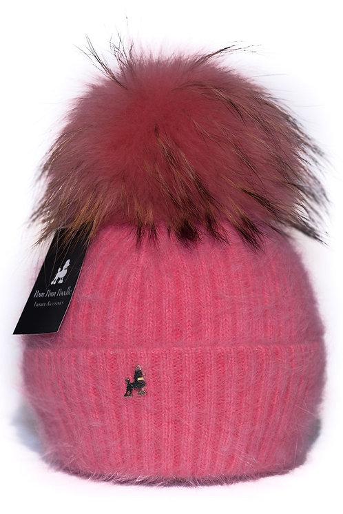 'Jenna' - Coral Pompom Hat