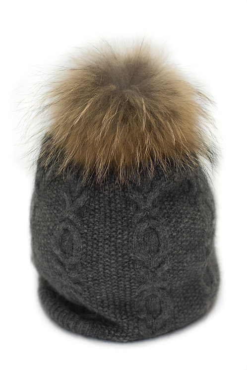 'Sophie' Hat - Charcoal With Raccoon Pompom