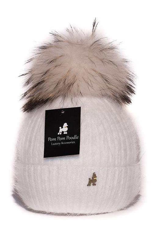 'Jenna' - White Pompom Hat