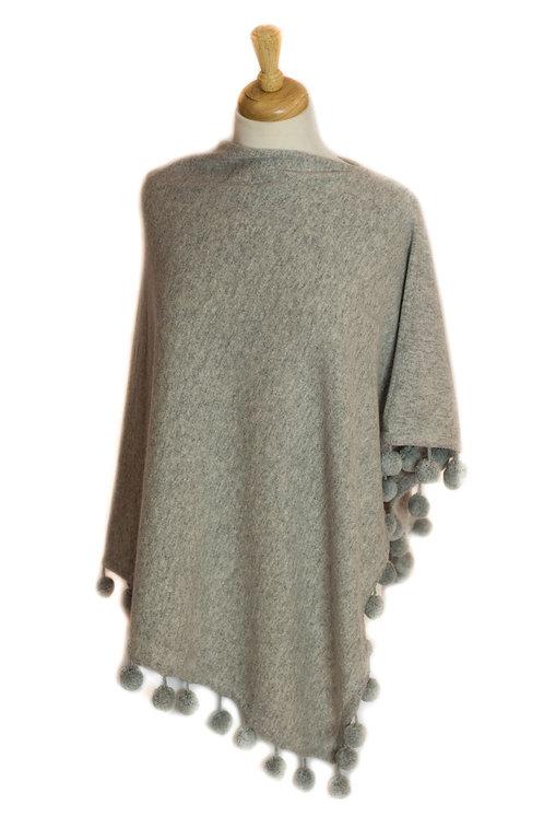 Light Grey - Cashmere/Pompom Poncho