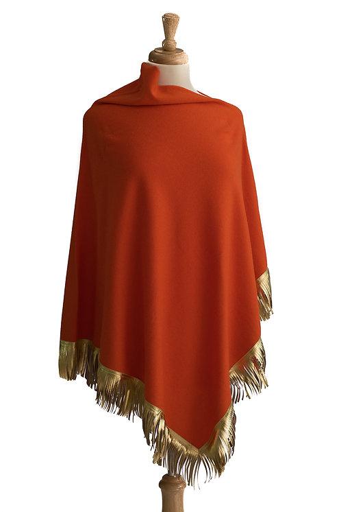 Orange Cashmere/Merino Poncho -Gold Leather Fringe