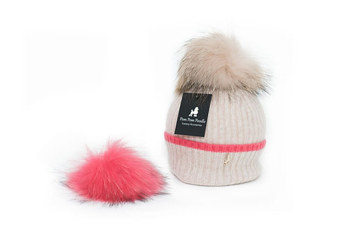 'Millie' Hat - Beige with Pink Stripe