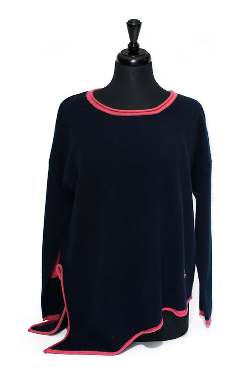 Daisy - Round Neck Jumper - Navy & Pink