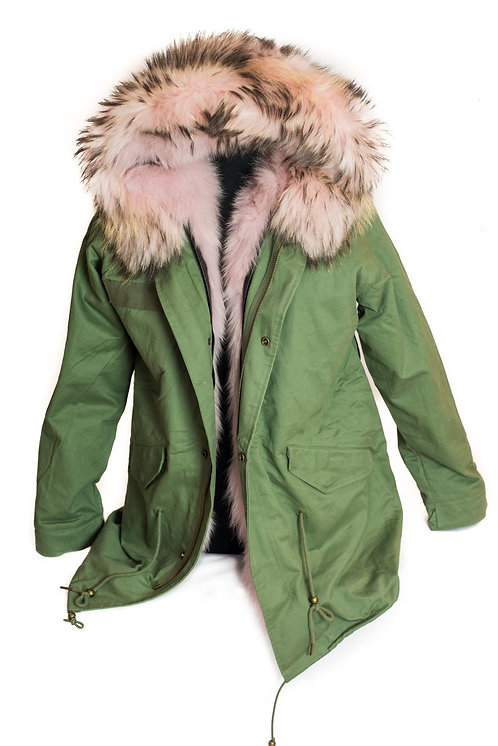 Parka Jacket - Light Pink/Green