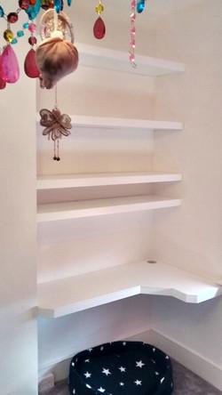 Fitted desk floating shelves