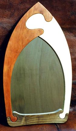 Cherry, maple, walnut jigsaw mirror
