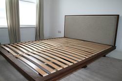 Walnut bed with drawers, headboard