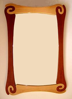 Cherry/maple jigsaw mirror
