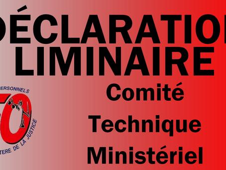 Union FO Justice : Déclaration liminaire du Comité Technique Ministériel