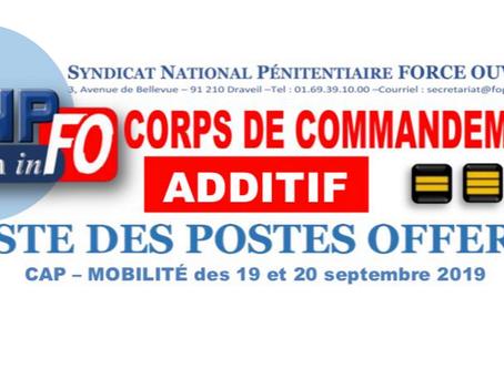 Liste des postes offerts lors de la CAP du corps de commandement (additif)