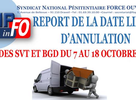 REPORT DE LA DATE LIMITE D'ANNULATION de la CAP des Surveillants/Brigadiers