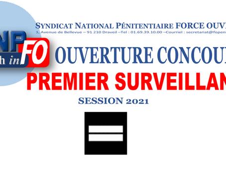 Ouverture du Concours de Premier Surveillant session 2021