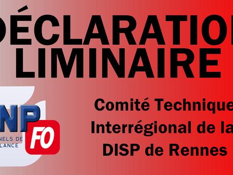 Rennes: Déclaration Liminaire du Comité Technique Interrégionale du 07/12/2017